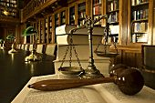 stock photo of scale  - Symbol of law and justice in the library law and justice concept - JPG