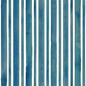 Watercolor Teal Blue Stripes On White Background. Turquoise And White Striped Seamless Pattern. Wate poster