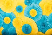 Round Decor Texture. Party Shop Concept. Round Blue And Yellow Decorative Details. Decorate. Buy Dec poster