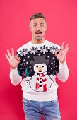 Fashion Design For Keeping Festive. Happy Man Give Ok Sign In Snowman Jumper. Cold Weather Male Styl poster