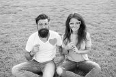 Couple In Love Cheerful Youth Booth Props. Emotional People. Man Bearded Hipster And Pretty Woman Ch poster