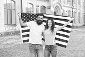Patriotic Spirit. Independence Day. National Holiday. Bearded Hipster And Girl Celebrating. 4th Of J poster