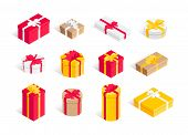 Isometric Gift Box Set. 3d Surprise Round, Square, Polygonal Big And Small Present Boxes Red, Yellow poster