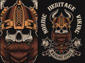 Vector Illustration With A Viking Skull On A Black Background poster