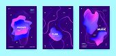 Trance Music Poster. Abstract Gradient Shape. Night Club Festival. Neon Fluid Shape. Pink Techno Mus poster