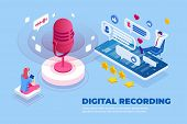 Isometric Digital Recording And Digital Sound Wave Concept. Musical Melody Design. Soundwave Audio M poster