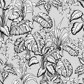 Seamless Pattern With Sketchy Tropical Leaves. Hand Drawn Vector On Gray Background. poster