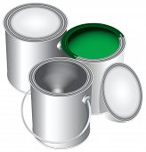 stock photo of paint pot  - Three versions of standard cans of paint closed open and empty with green paint - JPG