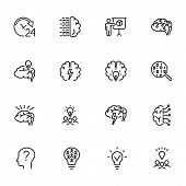 Brainstorming Line Icon Set. Shining Bulb, Idea, Charging. Brain Work Concept. Can Be Used For Topic poster