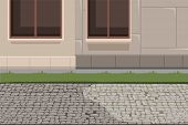 Town Building Exterior And Pavement Background. House Facade Basement, Grass Lawn And Stone Footpath poster