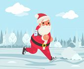 Santa Claus Christmas Weight Loss Outdoor Running Health Care Run Park Cardio App Smartphone Cartoon poster