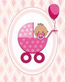 Newborn Baby, Girl, Postcard, Africa, Pink Rhombus, Vector. A Little Girl In A Pink Stroller. A Pink poster