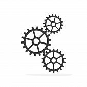 Gears On A White Background. Gear Vector Icon. Black Gears In Flat Style poster