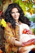 Outdoors Portrait Of Pregnant Woman, Color Autumn