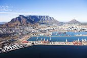Aerial View Of Cape Town With Table Mountain, Cape Town Harbour, Cbd poster