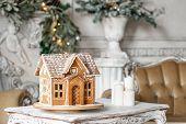 Postcard Gingerbread House. Defocused Lights Of Christmas Tree. Holiday Mood. Christmas And Happy Ne poster