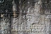 stock photo of mahabharata  - Warriors and elephat on the wall of Bayon temple Angkor - JPG