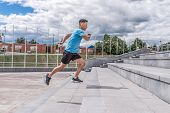 Young Sportsman, Male Athlete, Runs Up Steps, Summer Day City, Workout Fitness, Active Lifestyle Of  poster