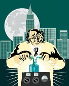 foto of mad scientist  - Vector art of a mad and crazy scientist at work - JPG