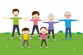 Family Exercising Together.happy Family Exercising Together In Public Park For Good Health, Healthy, poster
