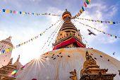 Swayambhunath Stupa, Aka The Monkey Temple, During Sunrise In Kathmandu, Nepal. A Unesco Heritage Si poster