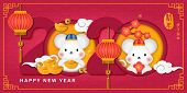 2020 Happy Chinese New Year Of Cartoon Cute Rat And Plum Blossom Spiral Curve Cloud Golden Ingot. Ch poster