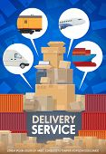 Mail Delivery, Logistics And Freight Transportation Service. Vector Air Mail Delivery, Train And Shi poster