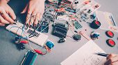 Diy Rc Car Model. Female Engineer, Electronic Components, Circuit Wires poster