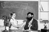 Teachers Day. Daugghter And Father With Flowers. Small School Girl Kid With Flower Bouquet. Knowledg poster