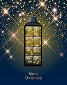 Christmas Lantern With Led String With Stardust On Dark Blue Sky, Illustration poster