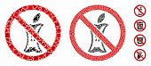 Do Not Litter Mosaic Of Abrupt Parts In Variable Sizes And Color Hues, Based On Do Not Litter Icon.  poster