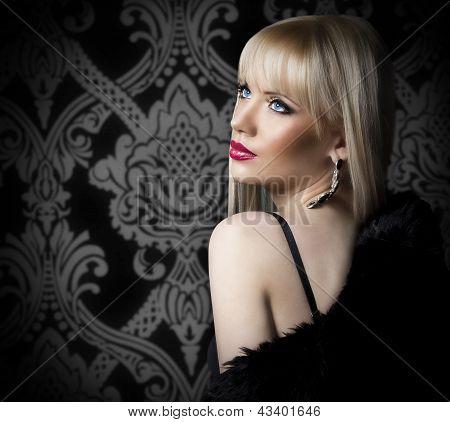 Portrait Of Beautiful Woman In Luxury Fur Coat