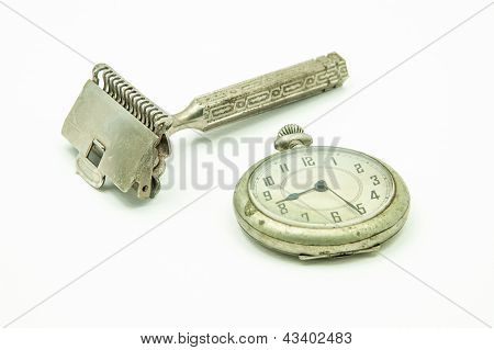 Old Pocket Watch And Shaving Device