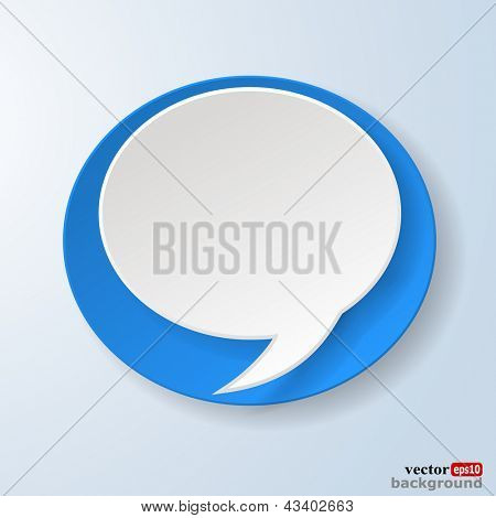 Abstract paper speech bubble on light blue background. Raster copy of vector illustration