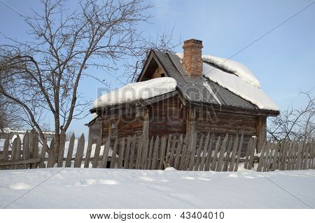 Small Wooden Bathhouse In Winter