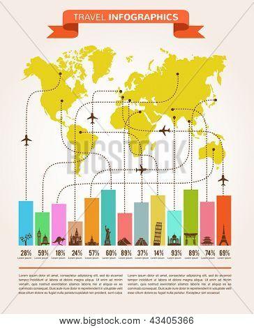 Gráficos de información de viajes con los iconos de los datos y elementos