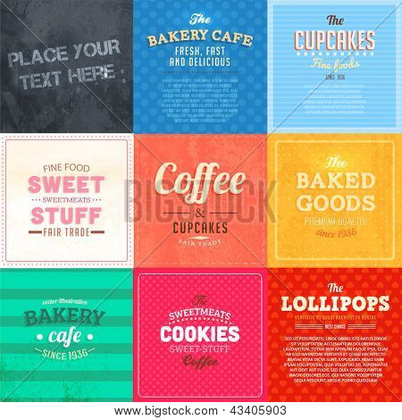 Set of retro bakery label cards for vintage design, old paper textures and seamless ornaments