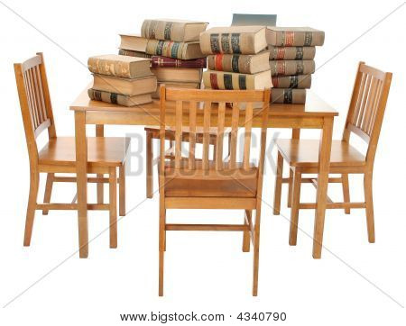 Stack Of Old Dirty Law Books On Table With Clipping Path