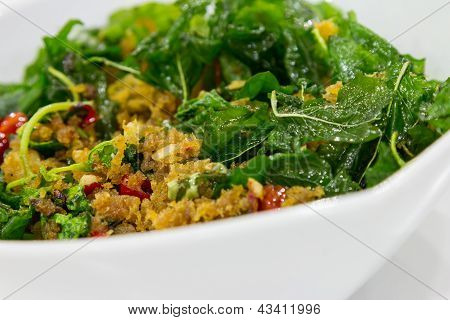 Fried Basil With Fish Flake On Blow