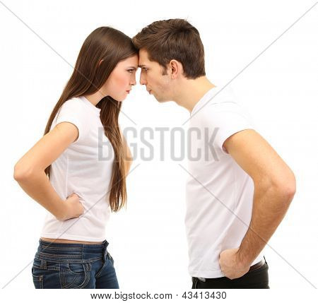 Young couple quarreling isolated on white