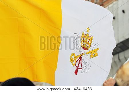 Flag Of Vatican City During The Angelus Of Pope Francis I