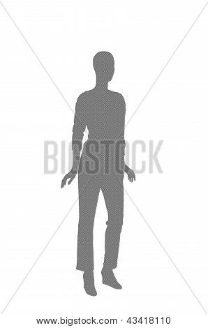 Fashion Dummy Silhouette (black And White Checker Pattern Shadow Isolated In White Background)