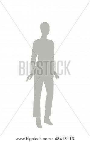 Fashion Dummy Silhouette (gray Shadow Isolated In White Background)
