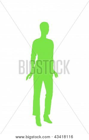 Fashion Dummy Silhouette (green Shadow Isolated In White Background)