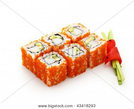 California Maki Sushi with Masago  - Roll made of Crab Meat, Avocado, Cucumber inside. Masago (smelt roe) outside