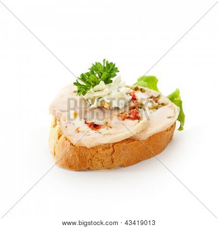 Poultry Canapes - Chicken Roll with Parsley and Herb Cream Cheese