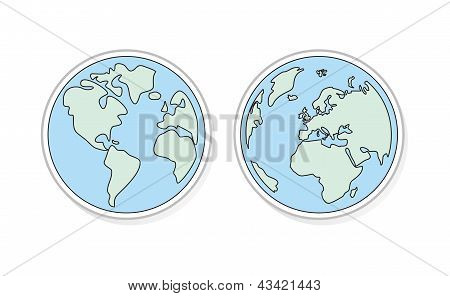 Planet Earth vector icons, buttons sticker or sign. Green and blue modern symbol