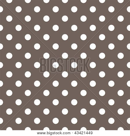 Seamless vector pattern with white polka dots on a dark brown background