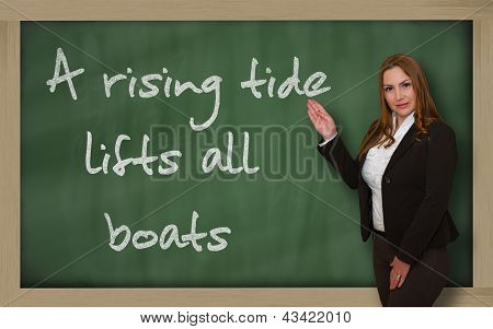 Teacher Showing A Rising Tide Lifts All Boats On Blackboard