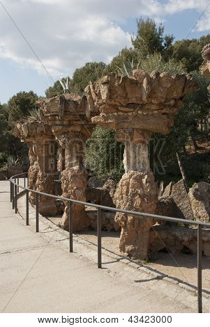 Collonade In Park Guell, Barcelona